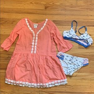 Lot of 2: Swimsuit and Cover up Dress,  6-7